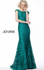 Jovani - Emerald Cap Sleeves Lace Evening Dress