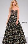 Jovani - Black Floral Beaded Waistline Sweetheart Neck Dress