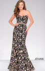 Jovani - Black Floral Embroidery Strapless Dress
