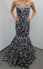 Jovani - Black and White Floral Strapless Gown