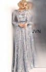 Jovani - Silver Long Sleeve Embellished Gown