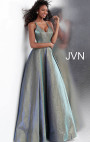 Jovani - Metallic Blue and Green Glitter Gown