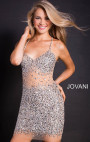 Jovani - Silver Beaded Spaghetti Straps Fitted Short Dress