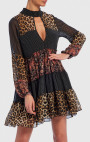 Forever Unique - Vivian Leopard Print And Floral Contrast Long Sleeve Shift Dress