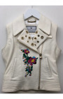 Philipp Plein - Flower Skull White Leather Vest