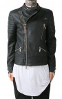RH45 - Black Leather Biker Jacket with Stingray