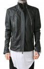 RH45 - Black Leather Jacket with Three Zip Detail