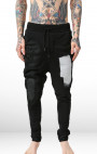 RH45 - Black Sweatpants with Paint and Leather Detail
