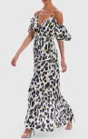Forever Unique - White Leopard Print Satin Maxi Dress