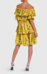 Forever Unique - Yellow Print Frilled Layered Mini Dress