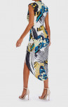 Forever Unique - Raquel Blue, White & Yellow Butterfly Print Dress (AB1717)