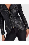 Forever Unique - Pulp Black Pu Biker Jacket With Exaggerated Zip Detail (AB3008)