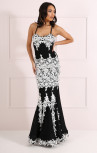 Forever Unique - Ash Black and White Lace Fishtail Dress (CH0323-BLKWHI)