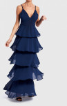 Forever Unique - Navy Blue Frilled Layered Maxi Dress (DF18179)