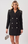 Forever Unique - Olivia Black Blazer Mini Dress With Embellished Shoulders (MN201137)
