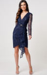 Forever Unique - Zaneta Navy Sequin Dress with Diamante Buckle (MN204301)