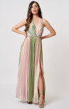 Forever Unique - Marlo Green and Pink Halter Neck Dress (MN206807)