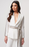 Forever Unique - Atlantis White Silver Blazer Jacket With Sequined Striped Detailing (MN209720)