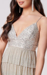 Forever Unique - Sigourney Silver Sequin Tiered Dress (MN209722)
