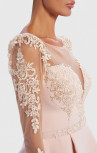 Forever Unique - Bodhi Pink Peplum Midi Dress With Sheer Lace Embroidered Long Sleeves (AF8907)