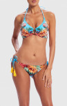 Forever Unique - Muscari Blue Floral Print Embellished Halter-Neck Bikini Set (AF1702)