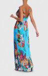 Forever Unique - Nepata Blue Floral Print Pleated Maxi Beach Dress (AF1704)