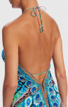 Forever Unique - Wisteria Blue, Green And Pink Scarf Print Asymmetric Maxi Beach Dress (AF2406)