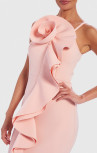 Forever Unique - Davis Pastel Pink Exaggerated Ruffle Bodycon Scuba Midi Dress (AF1602)