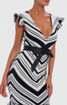 Forever Unique - Moss Black And White Striped Bandage Bodycon Peplum Midi Dress (AF0602)