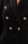 Forever Unique - Raven Black And Gold Velvet Spot Military Blazer (TJ4145)