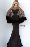 Jovani - Black Strapless Scuba Dress with Fur Cape (1142)