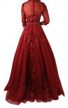 Jovani - Burgundy Three Quarter Sleeve Embroidered Ballgown (36914)