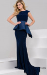 Jovani - Navy Fitted Peplum Evening Gown (37129)