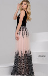 Jovani - Nude and Black Plunging Neckline Floral Dress (42420)