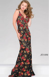 Jovani - Black Lace Floral Embroidered Fitted Dress (48985)