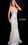 Jovani - Multi Nude Floral Embellished Spaghetti Straps Dress (55816)