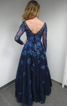 Jovani - Royal Blue Navy Gown with Blue Floral Embroidery (57127)