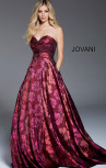 Jovani - Burgundy Strapless Sweetheart Neckline Gown with Floral Print (57818)