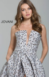 Jovani - Grey Floral Strapless Gown (59632)