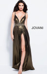 Jovani - Gold Metallic Eyelet Plunging Neckline High Slit Dress (60355)