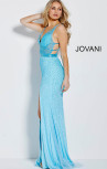 Jovani - Light Blue Embellished Fitted High Slit Backless Dress (60404)