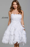 Jovani - White Strapless Feather Dress (61859)