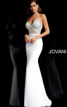 Jovani - White Crystal Embellished Bodice Fitted Dress (63147)