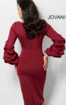 Jovani - Wine Scuba Ruched Long Sleeve Cocktail Dress (63446)
