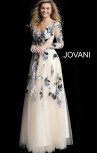 Jovani - Nude Floral Embroidered Tulle Gown (65359)