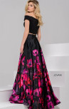 Jovani - Black and Multi Floral Print Two Piece Satin Ballgown (47667)