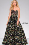 Jovani - Black Floral Beaded Waistline Sweetheart Neck Dress (47749)