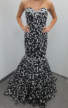 Jovani - Black and White Floral Strapless Gown (55714)