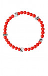 King Baby - Red Coral Bead Bracelet with 4 Skulls (K40-5528-RCO)