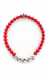 King Baby - Beaded Bracelet with 5 Silver Skull Red (K40-5530-RCO)